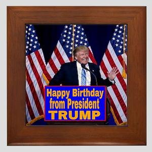 Happy Birthday from President Trump Framed Tile