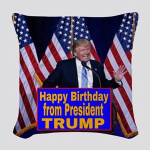 Happy Birthday from President Woven Throw Pillow