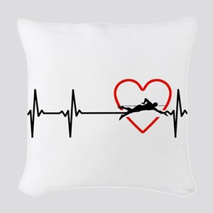 i love swimming Woven Throw Pillow