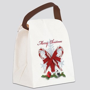 Candy Canes Merry Christmas Canvas Lunch Bag