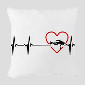 i love scuba diving Woven Throw Pillow