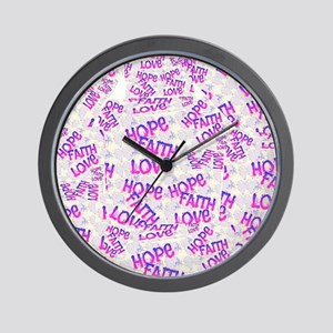 Hope Faith Love Collage Wall Clock