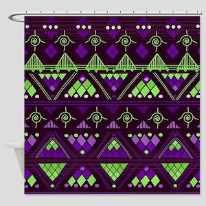 Boho Geometric Triangle Pattern v. 8 Shower Curtai