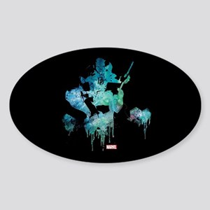 Daredevil Teal Paint Drip Sticker (Oval)