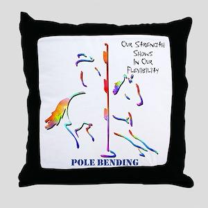 Pole Bending Throw Pillow