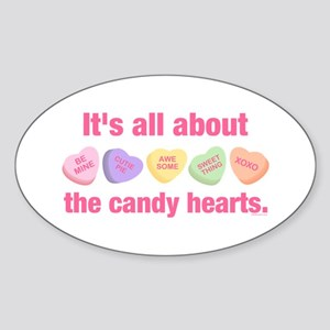 Candy Hearts II Oval Sticker