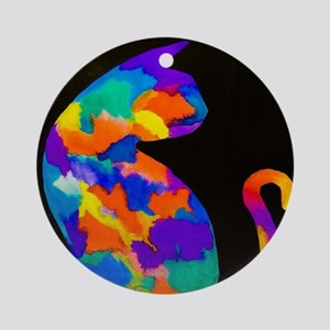 Rainbow Cat Round Ornament