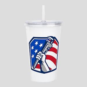 Plumber Hand Pipe Wrench USA Flag Retro Acrylic Do