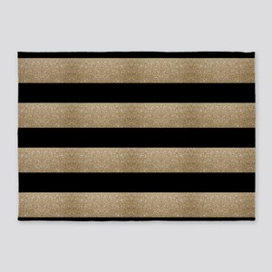 chic black gold stripes 5'x7'Area Rug
