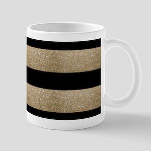 chic black gold stripes Mugs