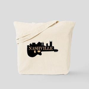 Nashville Guitar Skyline Tote Bag