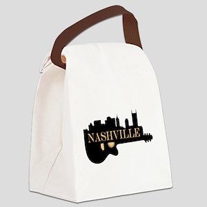 Nashville Guitar Skyline Canvas Lunch Bag
