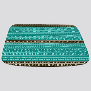 Teal and Cocoa Brown Modern Mudcloth Bathmat