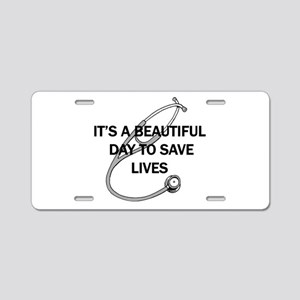 Saving Lives Aluminum License Plate