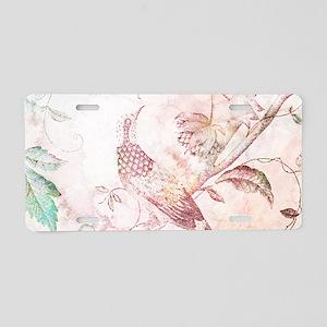 Peach Watercolor Bird and Trees Aluminum License P