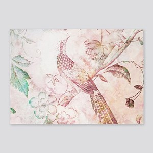 Peach Watercolor Bird and Trees 5'x7'Area Rug