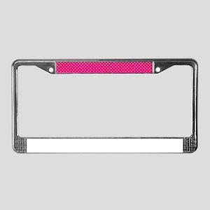 Hot Pink Glitter Dots License Plate Frame