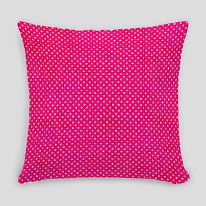 Hot Pink Glitter Dots Everyday Pillow