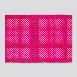 Hot Pink Glitter Dots 5'x7'Area Rug