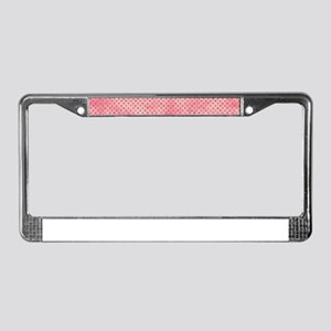 Salmon Pink Watercolor Dots License Plate Frame