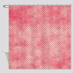 Salmon Pink Watercolor Dots Shower Curtain