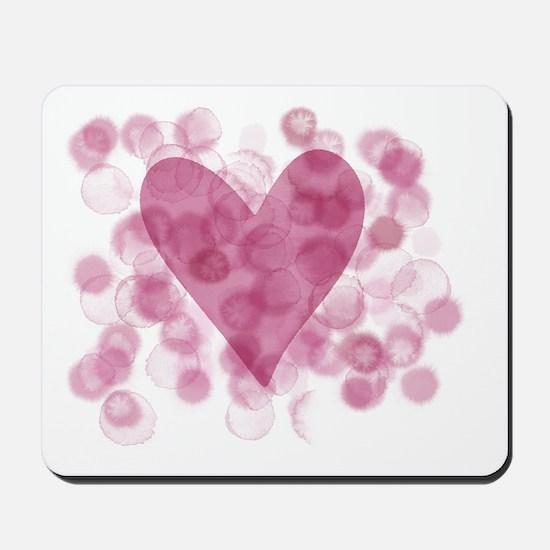 Dusky Pink Heart Splash Mousepad