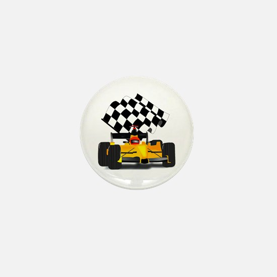 Yellow Race Car with Checkered Flag Mini Button