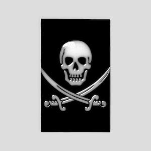 Glassy Skull and Cross Swords Area Rug