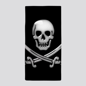 Glassy Skull and Cross Swords Beach Towel