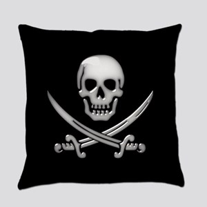 Glassy Skull and Cross Swords Everyday Pillow