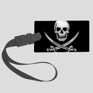 Glassy Skull and Cross Swords Large Luggage Tag