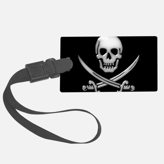 Glassy Skull and Cross Swords Luggage Tag