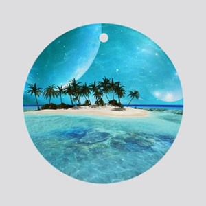 Wonderful tropical island with moons Round Ornamen