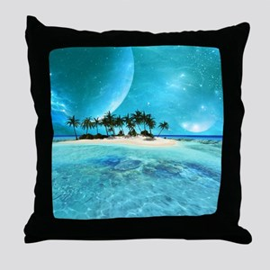 Wonderful tropical island with moons Throw Pillow