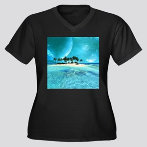Wonderful tropical island with moons Plus Size T-S