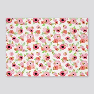 Modern Watercolor Floral 5'x7'Area Rug