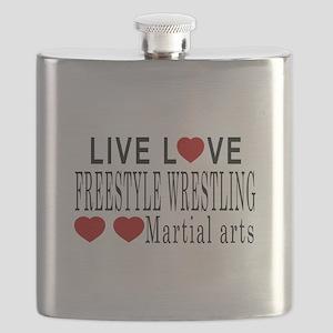 Live Love Freestyle Wrestling Martial Arts D Flask