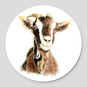 Watercolor Goat Farm Animal Round Car Magnet