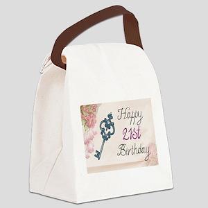 Happy 21st Birthday (Vintage) Canvas Lunch Bag