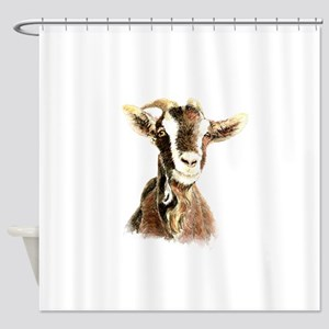 Watercolor Goat Farm Animal Shower Curtain