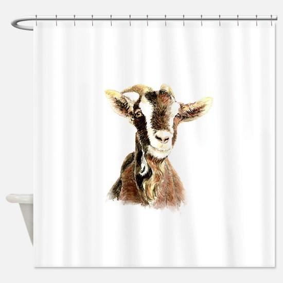 Watercolor Goat Farm Animal Shower Curtain