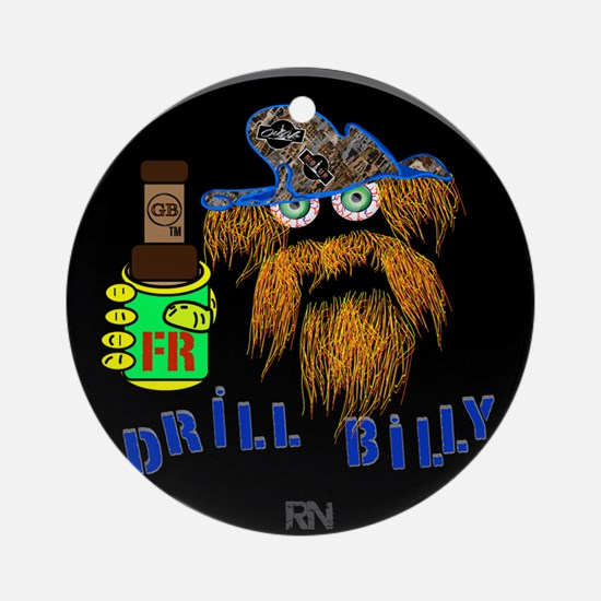 DRILLBILLY BLUE round Round Ornament