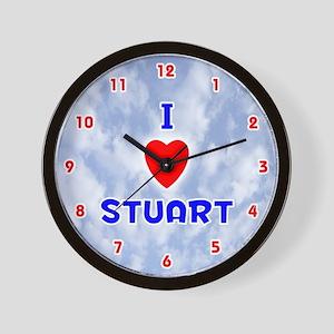 I Love Stuart (Red/Bl) Valentine Wall Clock