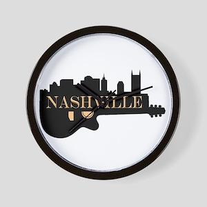 Nashville Guitar Skyline Wall Clock