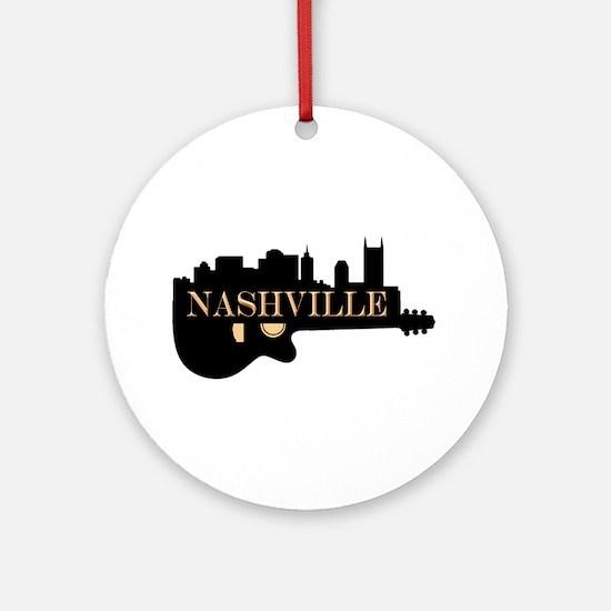 Nashville Guitar Skyline Round Ornament