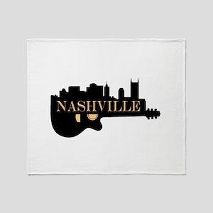 Nashville Guitar Skyline Throw Blanket