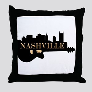 Nashville Guitar Skyline Throw Pillow