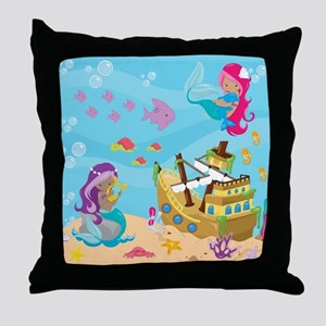 Mermaid Pirate Ship Throw Pillow