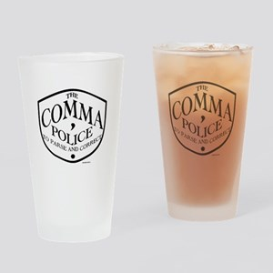 Comma Police Drinking Glass