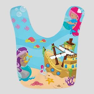 Mermaid Pirate Ship Polyester Baby Bib